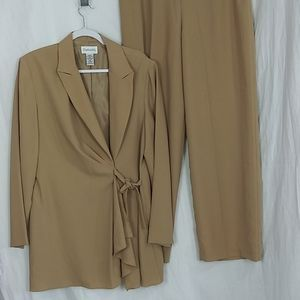 Chadwicks 2 piece camel waterfall front suit 16